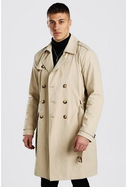 Stone beige Double Breasted Long Trench
