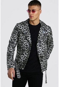 Leopard Animal Leather Look Biker