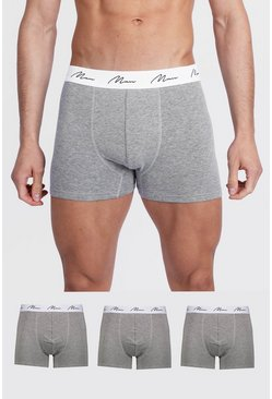 Grey marl grey 3 Pack MAN Script Mixed Trunk