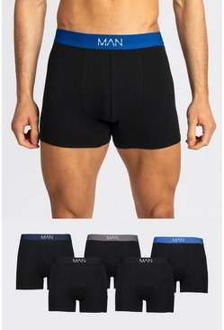 Black 5 Pack MAN Dash Mixed Waistband Trunk