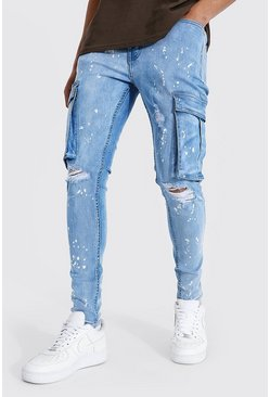 Light blue blue Super Skinny Bleach Splatter Cargo Jean
