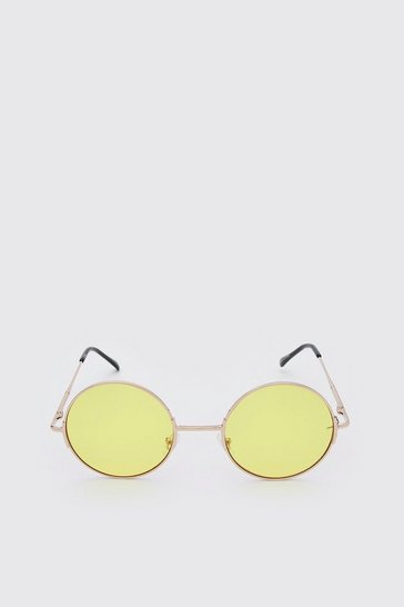 Yellow Round Coloured Lens Sunglasses