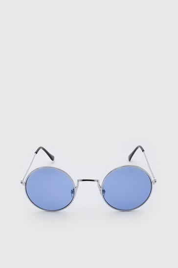 Blue Round Coloured Lens Sunglasses