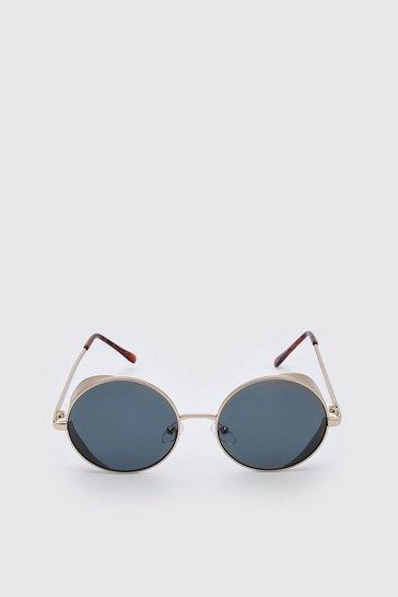 Gold metallic Deep Edge Round Sunglasses
