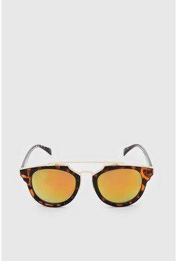 Orange Mirror Lens Top Bar Sunglasses