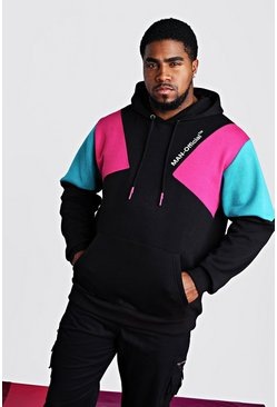 Black svart Big & Tall - MAN Official Hoodie med tryck