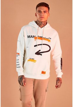 Ecru white MAN Official Graffiti Print Hoodie