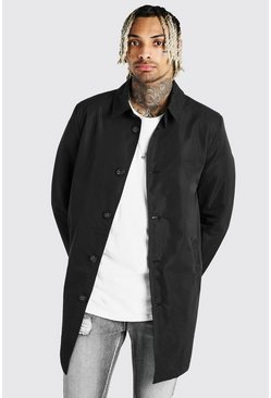 Black Single Breasted Twill Mac