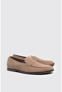 Stone beige Faux Suede Saddle Loafer