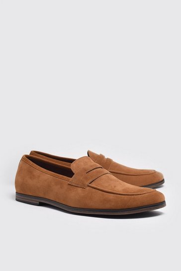 Tan Faux Suede Saddle Loafer