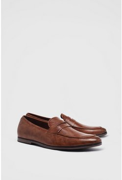 Tan brown Faux Leather Saddle Loafer