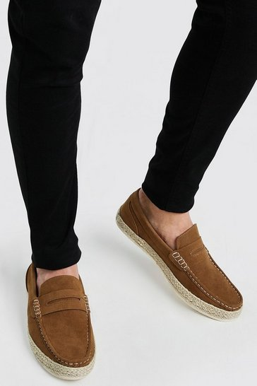 Tan brown Faux Suede Jute Saddle Loafer