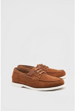 Tan brown Faux Suede Boat Shoe
