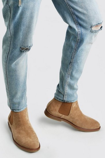 Tan brown Faux Suede Back Tab Chelsea