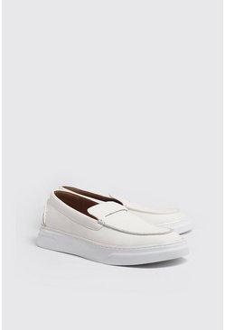 White Tumbled PU Casual Loafer