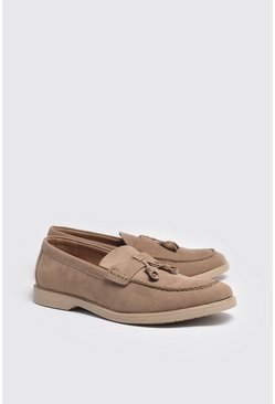 Stone Faux Suede Tassel Loafer