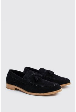 Black Faux Suede Resin Sole Tassel Loafer