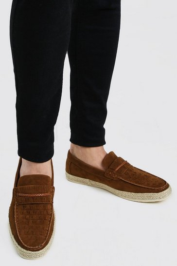 Tan brown Faux Suede Woven Braided Loafer