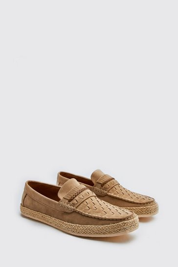 Stone beige Faux Suede Woven Braided Loafer