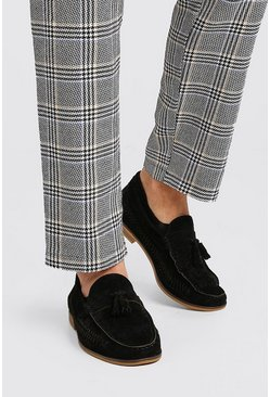 Black Faux Leather Woven Loafer