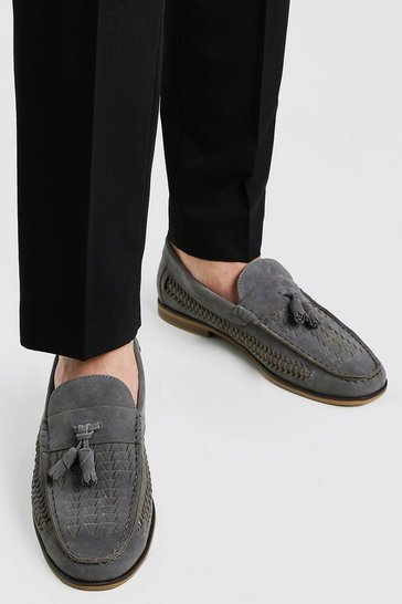 Light grey grey Faux Suede Woven Loafer