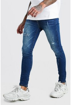 Washed indigo blue Super Skinny Biker Splatter Jeans