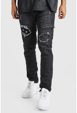 Charcoal Super Skinny Biker Jeans With Bandana Detail