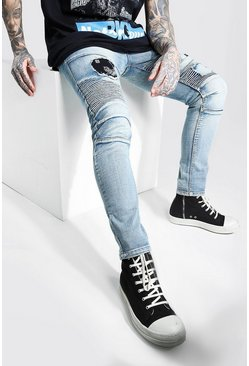 Blue Super Skinny Biker Jeans With Bandana Detail