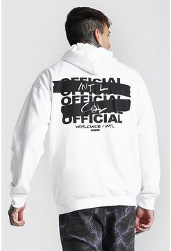 White Oversized Official Back Print Hoodie