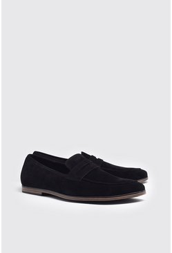 Black Faux Suede Saddle Loafer