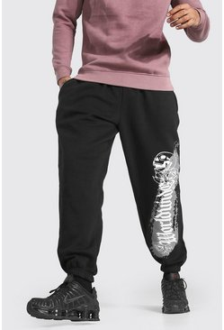 Black Oversized Worldwide Print Joggers