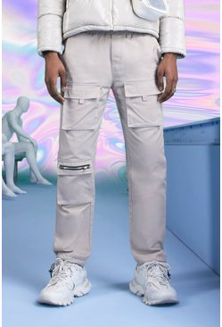 Stone beige Slim Fit Cargo Pants With Drawcord Cuff