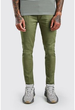 Kaki khaki Skinny chinobroek met stretch