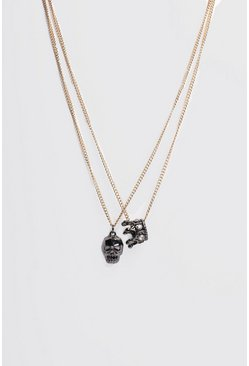 Double Layer Skull Pendant , Gold metálicos