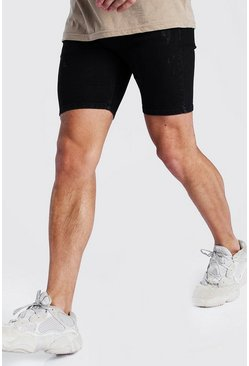 Black Skinny Denim Shorts With Abrasions