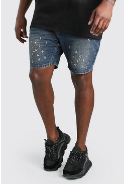 Dark wash blue Plus Size Slim Fit Denim Paint Splatter Short