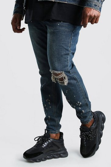 Dark wash blue Plus Size Skinny Fit Jean With Busted Knee