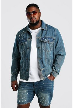 Mid wash blue Plus Size Denim Paint Splatter Jacket