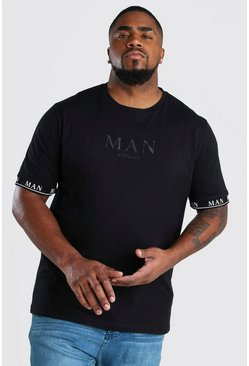 Black Plus Size MAN Roman Tape Cuff T-Shirt