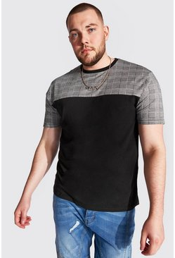 Camiseta de bloques de color romana Big And Tall, Negro