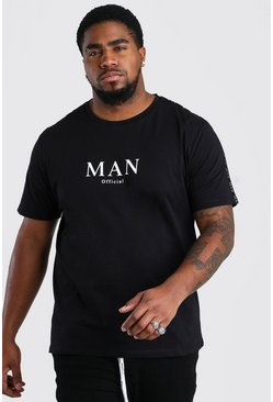 Black Plus Size MAN Roman Shoulder Tape T-Shirt