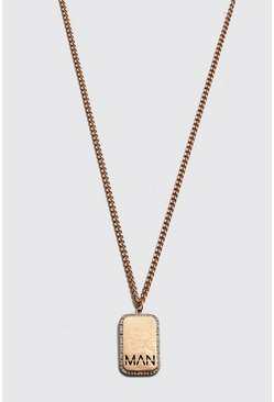 Gold metallic MAN Dash Diamante Dog Tag Necklace