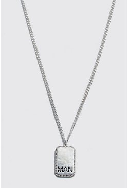 MAN Dash Diamante Dog Tag Necklace , Silver