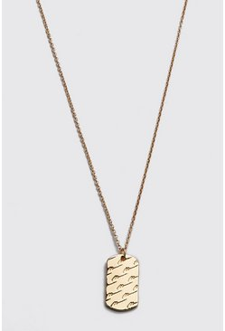 Gold metallic MAN Script Dog Tag Necklace