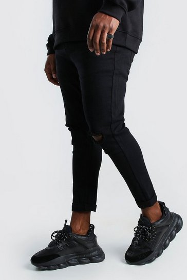 Black Plus Size Super Skinny Ripped Knee Jeans