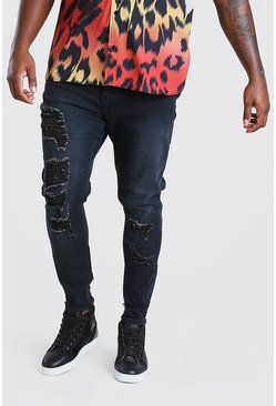 Charcoal grey Plus Size Distressed Skinny Fit Jeans