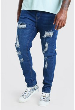 Mid blue blue Big & Tall Skinny Fit Jeans All Over Rips