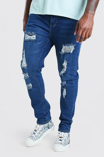 Mid blue blue Plus Size Skinny Fit Jeans All Over Rips