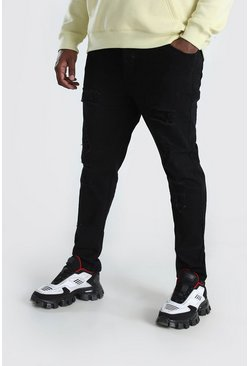 Black Big & Tall Skinny Fit Jeans All Over Rips