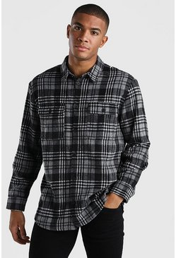Charcoal grey Oversized Long Sleeve Check Shirt